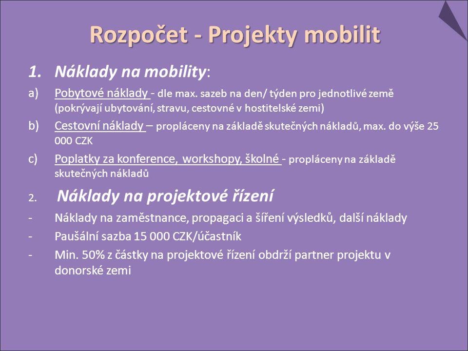 Rozpočet - Projekty mobilit 1.Náklady na mobility: a)Pobytové náklady - dle max. sazeb na den/ týden pro jednotlivé země (pokrývají ubytování, stravu,