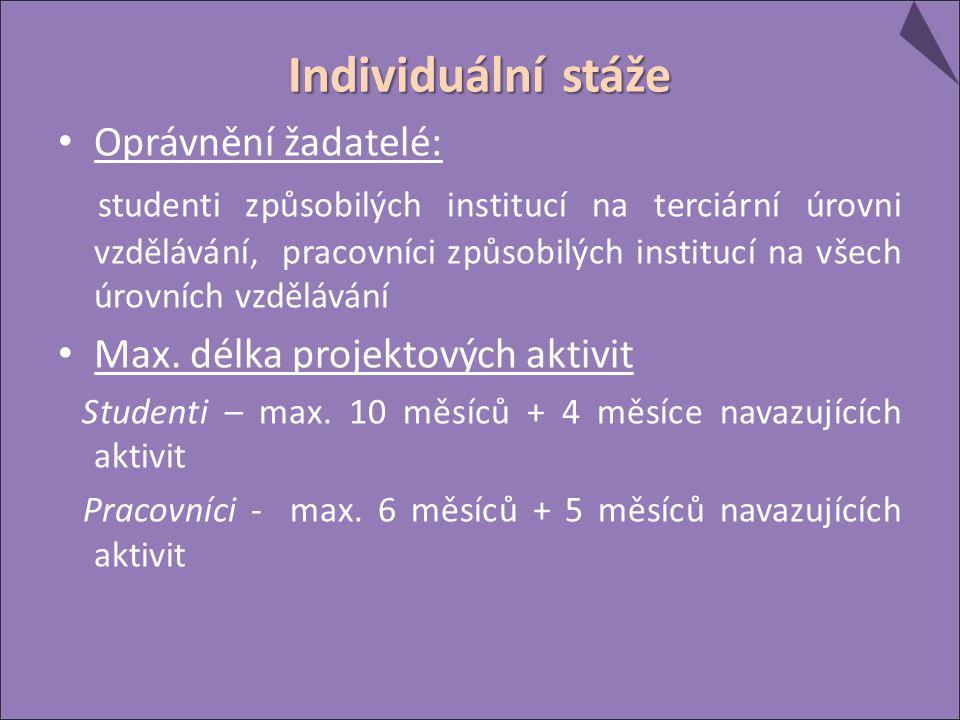 Individuální stáže Oprávnění žadatelé: studenti způsobilých institucí na terciární úrovni vzdělávání, pracovníci způsobilých institucí na všech úrovních vzdělávání Max.