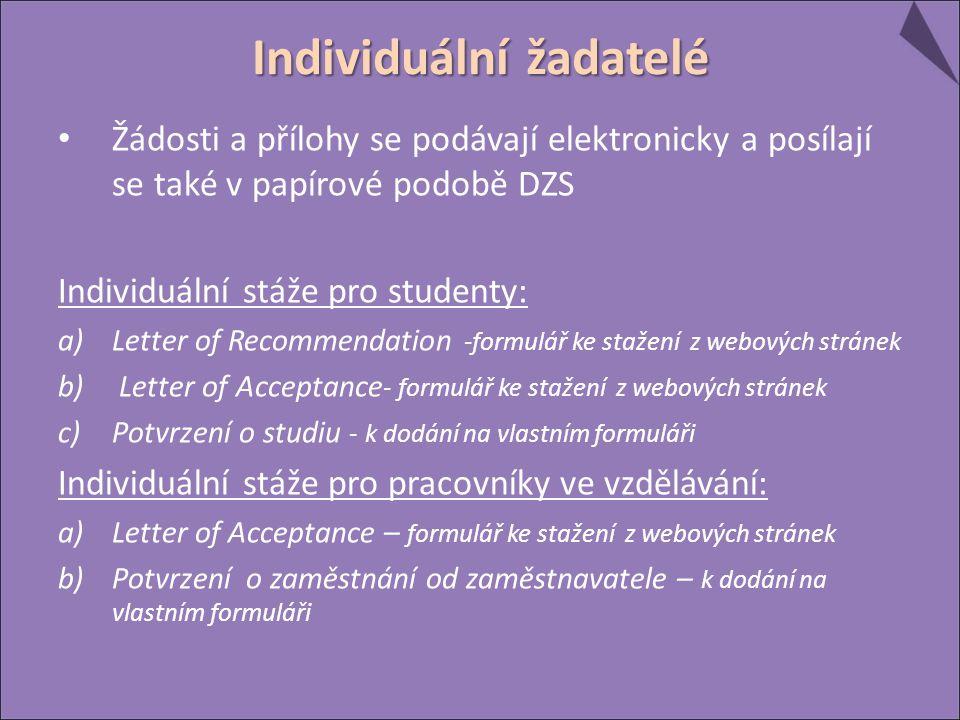 Žádosti a přílohy se podávají elektronicky a posílají se také v papírové podobě DZS Individuální stáže pro studenty: a)Letter of Recommendation -formulář ke stažení z webových stránek b) Letter of Acceptance - formulář ke stažení z webových stránek c)Potvrzení o studiu - k dodání na vlastním formuláři Individuální stáže pro pracovníky ve vzdělávání: a)Letter of Acceptance – formulář ke stažení z webových stránek b)Potvrzení o zaměstnání od zaměstnavatele – k dodání na vlastním formuláři Individuální žadatelé