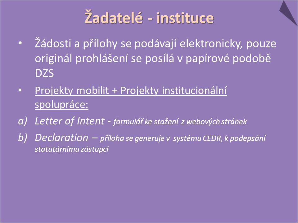 Žádosti a přílohy se podávají elektronicky, pouze originál prohlášení se posílá v papírové podobě DZS Projekty mobilit + Projekty institucionální spol