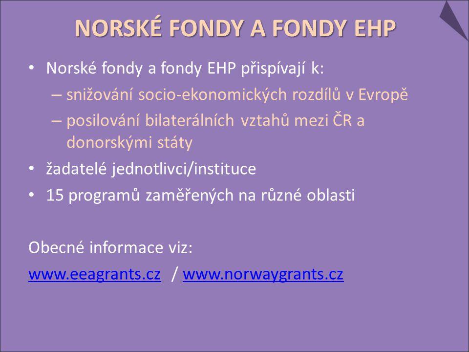 Norské fondy a fondy EHP přispívají k: – snižování socio-ekonomických rozdílů v Evropě – posilování bilaterálních vztahů mezi ČR a donorskými státy ža