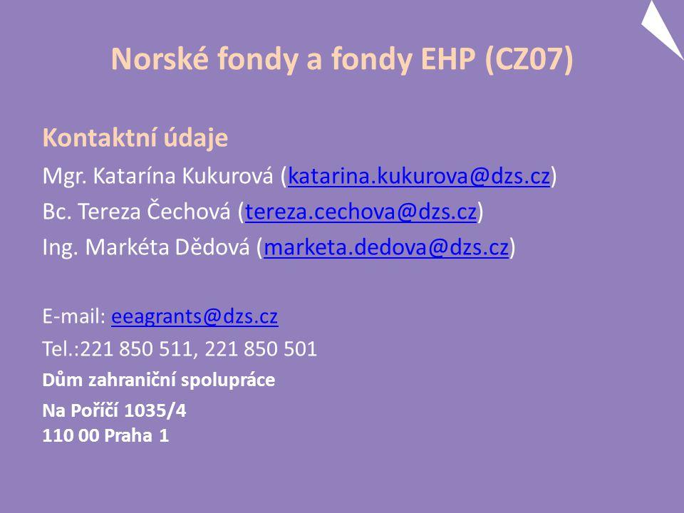 Norské fondy a fondy EHP (CZ07) Kontaktní údaje Mgr. Katarína Kukurová (katarina.kukurova@dzs.cz)katarina.kukurova@dzs.cz Bc. Tereza Čechová (tereza.c