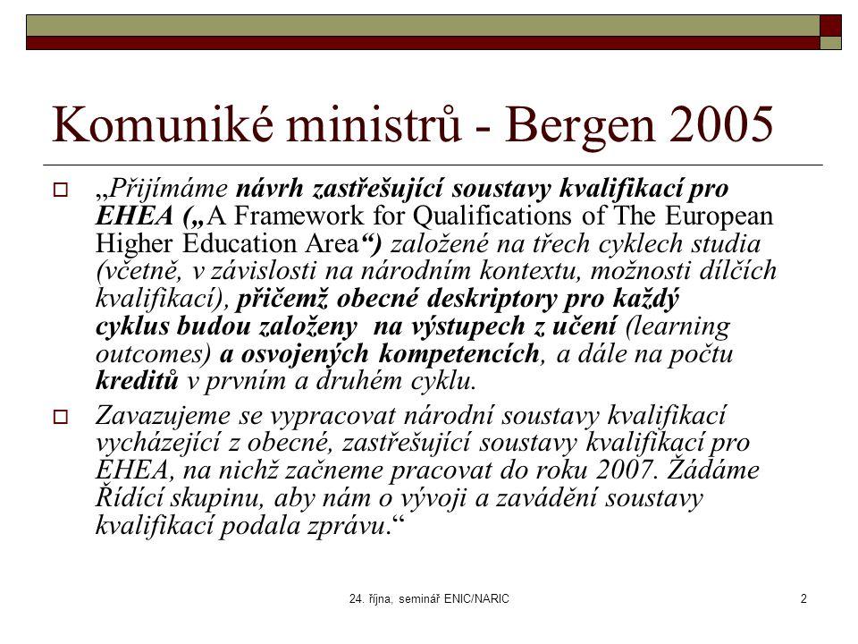 """24. října, seminář ENIC/NARIC2 Komuniké ministrů - Bergen 2005  """"Přijímáme návrh zastřešující soustavy kvalifikací pro EHEA (""""A Framework for Qualifi"""
