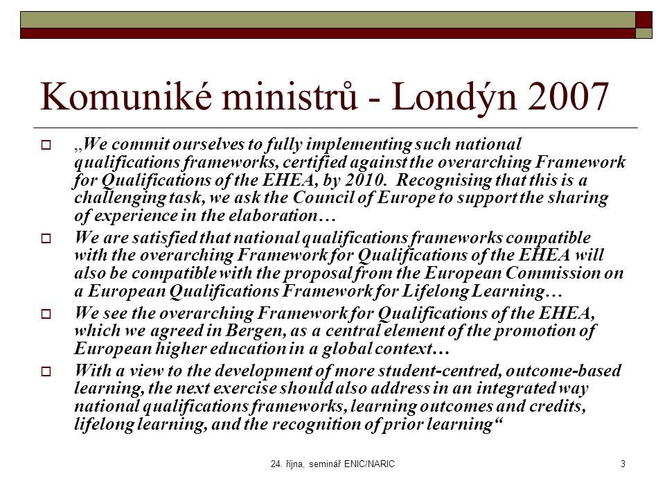 "24. října, seminář ENIC/NARIC3 Komuniké ministrů - Londýn 2007  ""We commit ourselves to fully implementing such national qualifications frameworks, c"
