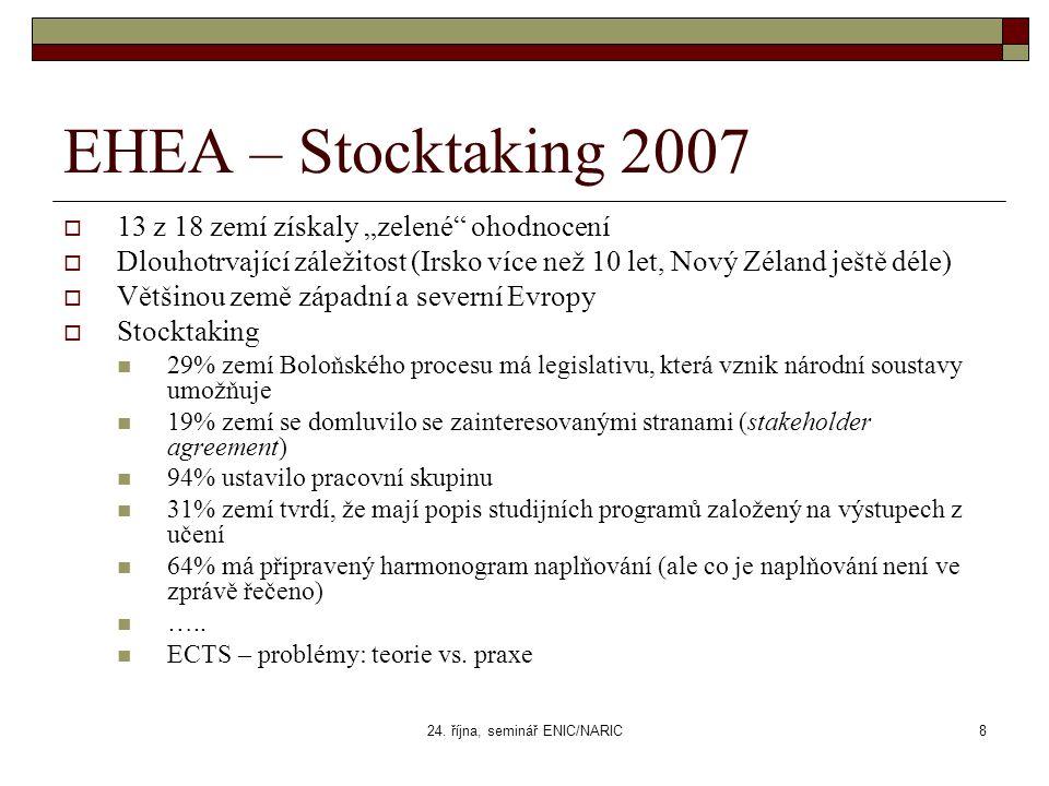 """24. října, seminář ENIC/NARIC8 EHEA – Stocktaking 2007  13 z 18 zemí získaly """"zelené"""" ohodnocení  Dlouhotrvající záležitost (Irsko více než 10 let,"""