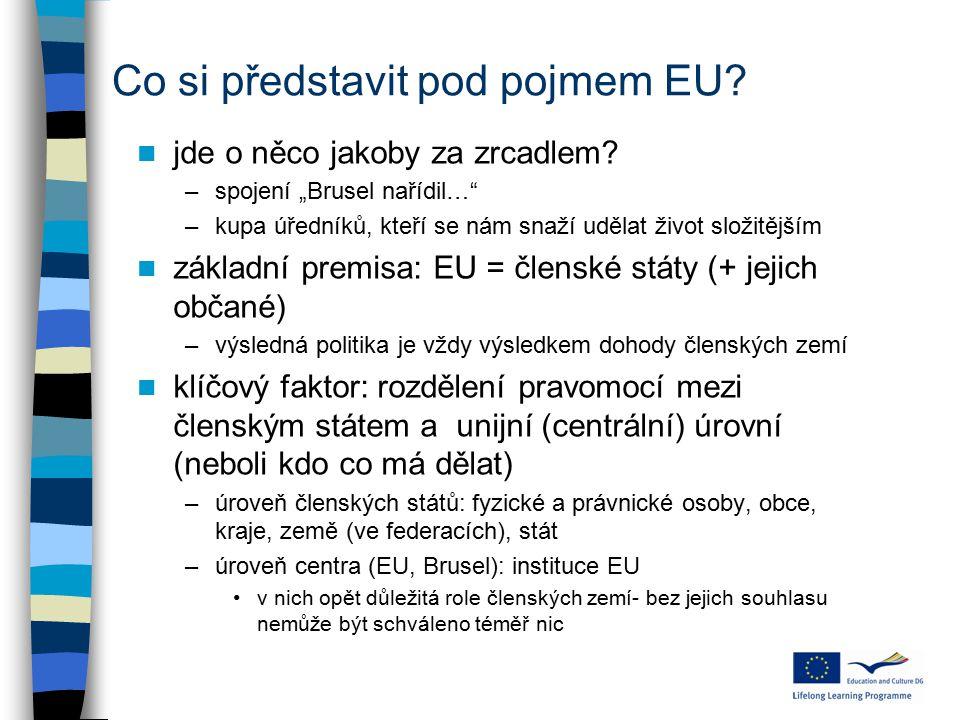 """Co si představit pod pojmem EU? jde o něco jakoby za zrcadlem? –spojení """"Brusel nařídil…"""" –kupa úředníků, kteří se nám snaží udělat život složitějším"""