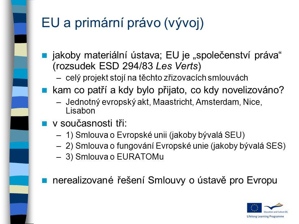 """EU a primární právo (vývoj) jakoby materiální ústava; EU je """"společenství práva"""" (rozsudek ESD 294/83 Les Verts) –celý projekt stojí na těchto zřizova"""