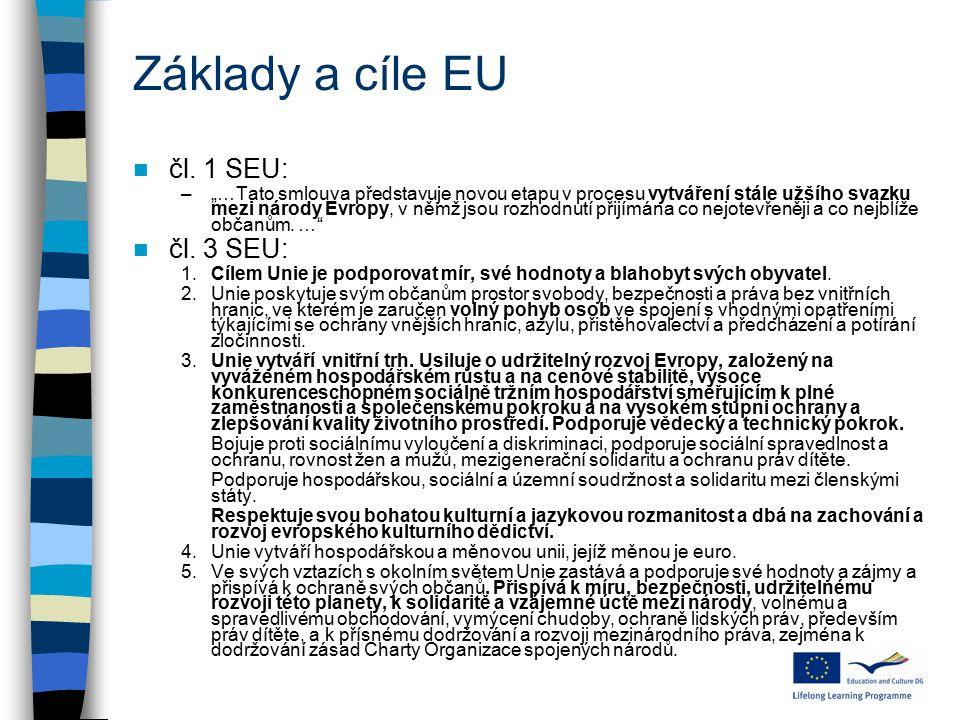 """Základy a cíle EU čl. 1 SEU: –""""…Tato smlouva představuje novou etapu v procesu vytváření stále užšího svazku mezi národy Evropy, v němž jsou rozhodnut"""