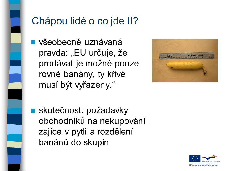 """Chápou lidé o co jde II? všeobecně uznávaná pravda: """"EU určuje, že prodávat je možné pouze rovné banány, ty křivé musí být vyřazeny."""" skutečnost: poža"""
