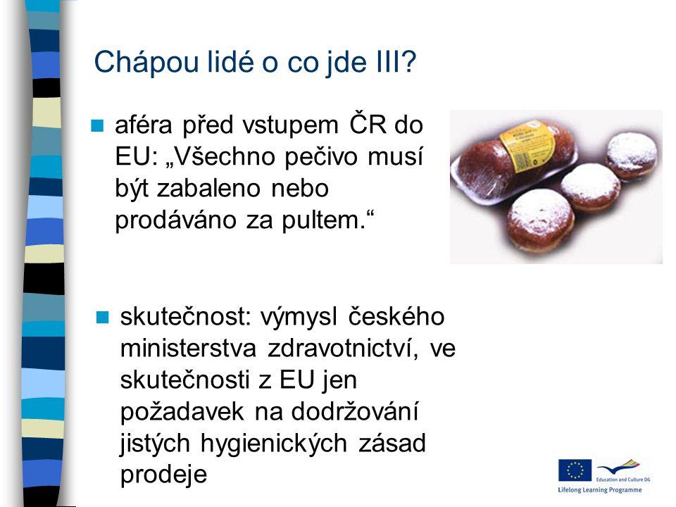 """Chápou lidé o co jde III? aféra před vstupem ČR do EU: """"Všechno pečivo musí být zabaleno nebo prodáváno za pultem."""" skutečnost: výmysl českého ministe"""