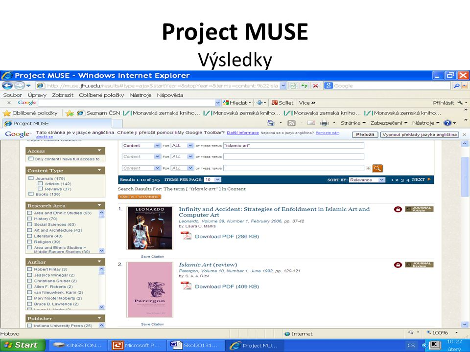 Project MUSE Výsledky