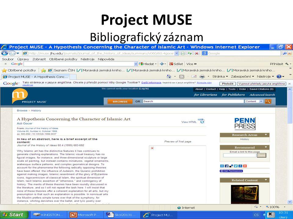 Project MUSE Bibliografický záznam