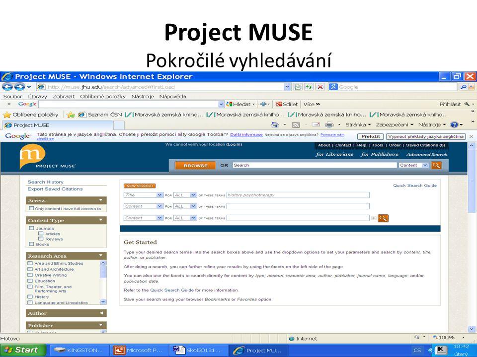 Project MUSE Pokročilé vyhledávání