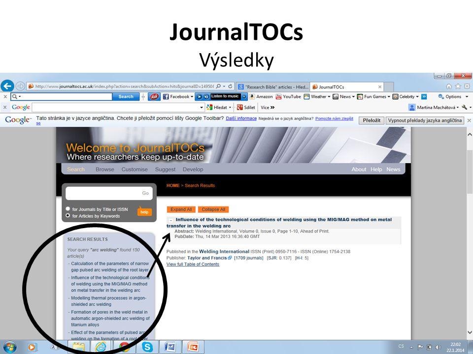 JournalTOCs Výsledky