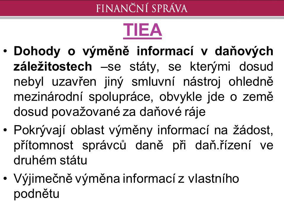 TIEA Dohody o výměně informací v daňových záležitostech –se státy, se kterými dosud nebyl uzavřen jiný smluvní nástroj ohledně mezinárodní spolupráce,