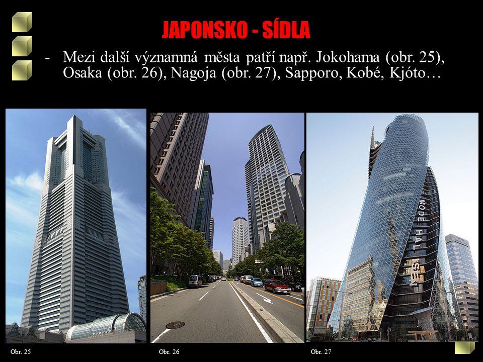 JAPONSKO - SÍDLA Obr. 25 Obr. 27Obr. 26 -Mezi další významná města patří např.