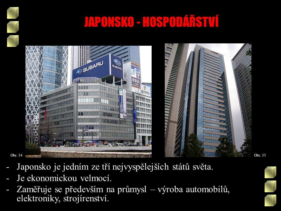 JAPONSKO - HOSPODÁŘSTVÍ Obr. 35Obr. 34 -Japonsko je jedním ze tří nejvyspělejších států světa.