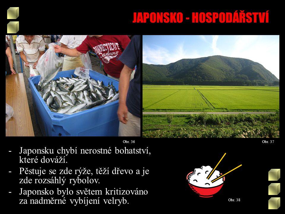 JAPONSKO - HOSPODÁŘSTVÍ Obr. 38 Obr. 37Obr. 36 -Japonsku chybí nerostné bohatství, které dováží.