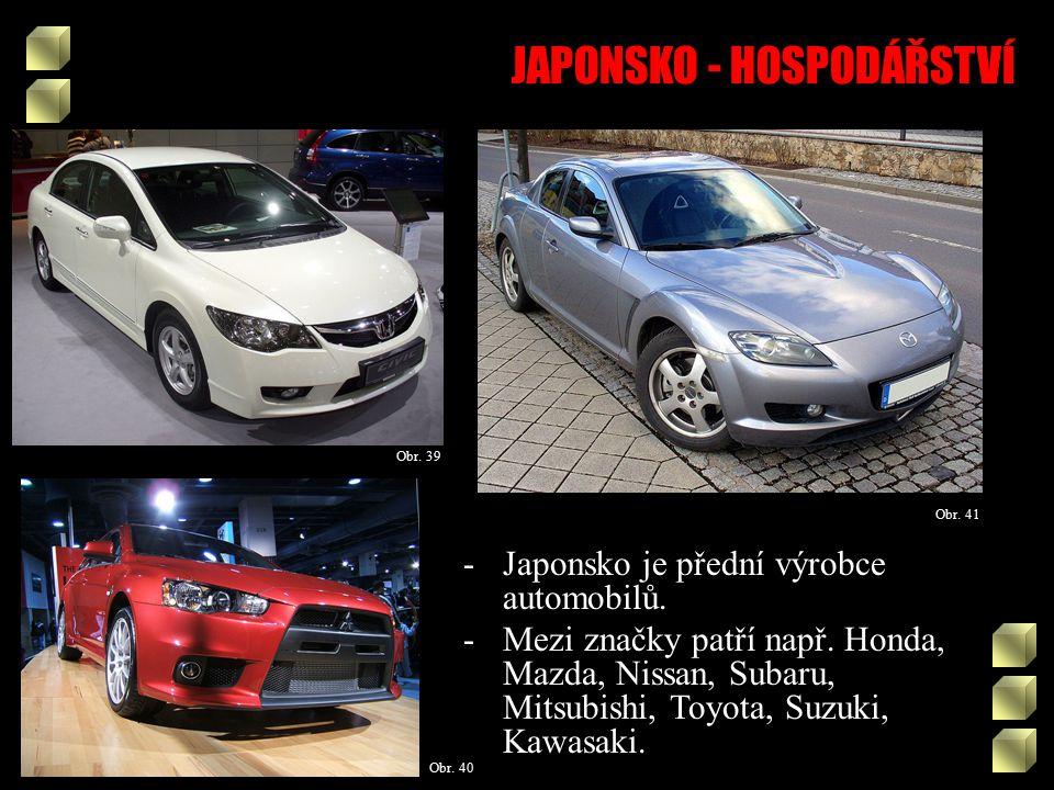 JAPONSKO - HOSPODÁŘSTVÍ Obr. 40 Obr. 39 Obr. 41 -Japonsko je přední výrobce automobilů.