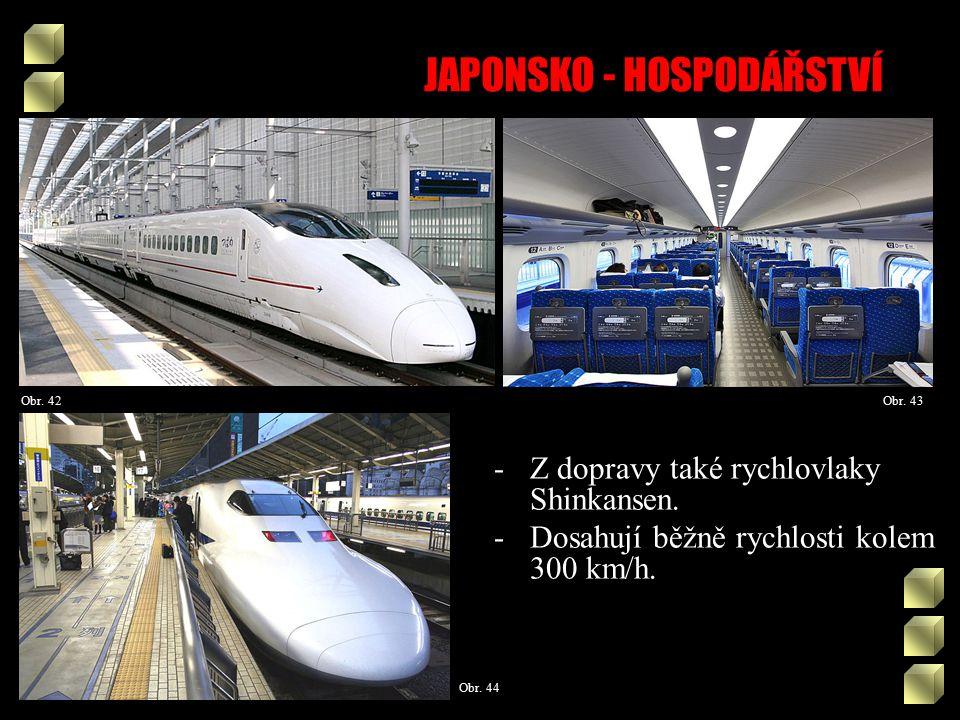 JAPONSKO - HOSPODÁŘSTVÍ Obr. 43Obr. 42 Obr. 44 -Z dopravy také rychlovlaky Shinkansen.