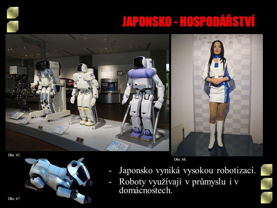 JAPONSKO - HOSPODÁŘSTVÍ Obr. 46 Obr. 45 Obr. 47 -Japonsko vyniká vysokou robotizací.