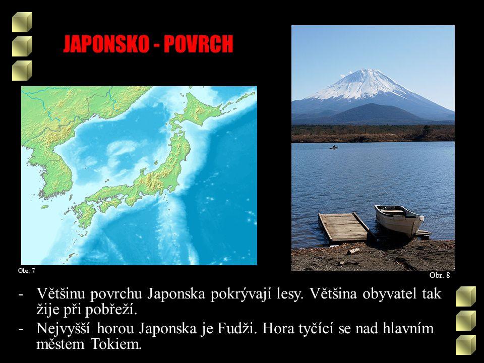 JAPONSKO - POVRCH Obr. 8 Obr. 7 -Většinu povrchu Japonska pokrývají lesy.