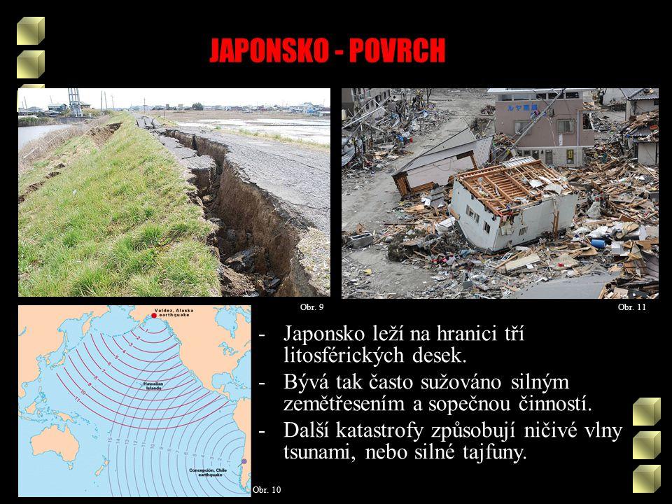 JAPONSKO - POVRCH Obr. 9 Obr. 10 Obr. 11 -Japonsko leží na hranici tří litosférických desek.