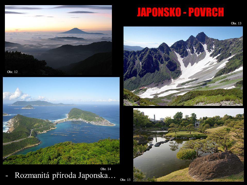JAPONSKO - POVRCH Obr. 13 Obr. 14 -Rozmanitá příroda Japonska… Obr. 12 Obr. 15