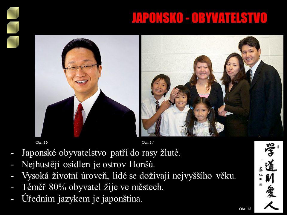 JAPONSKO - OBYVATELSTVO Obr. 16 Obr. 17 Obr. 18 -Japonské obyvatelstvo patří do rasy žluté.