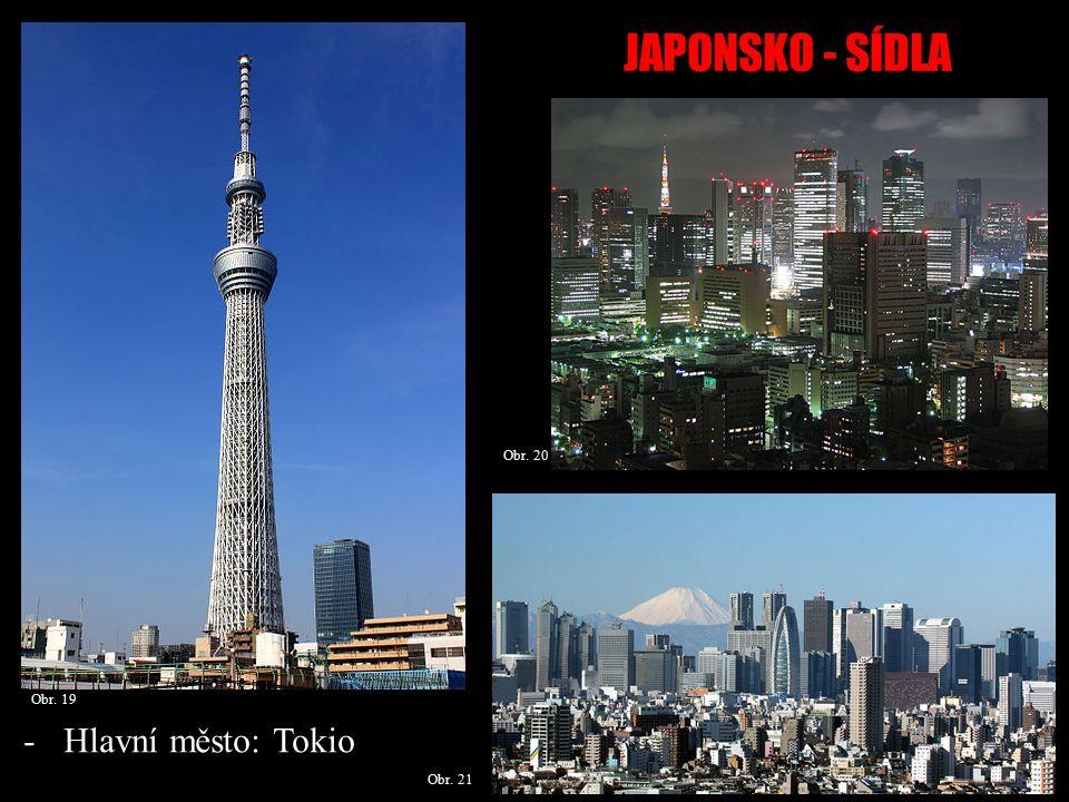 JAPONSKO - SÍDLA Obr.22 Obr. 24 Obr. 23 -Tokio leží na pobřeží Tokijského zálivu.