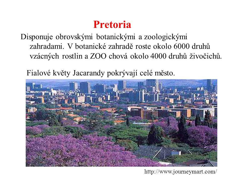 Pretoria Disponuje obrovskými botanickými a zoologickými zahradami. V botanické zahradě roste okolo 6000 druhů vzácných rostlin a ZOO chová okolo 4000