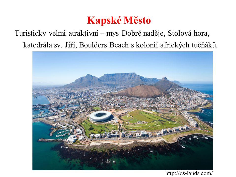 Kapské Město Turisticky velmi atraktivní – mys Dobré naděje, Stolová hora, katedrála sv. Jiří, Boulders Beach s kolonií afrických tučňáků. http://ds-l