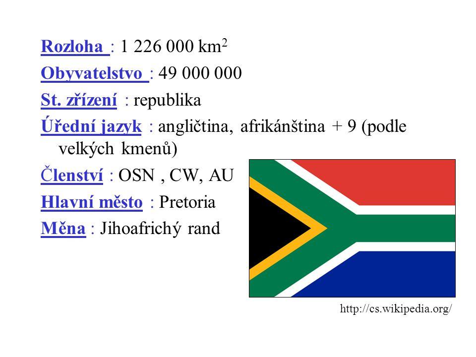 Rozloha : 1 226 000 km 2 Obyvatelstvo : 49 000 000 St. zřízení : republika Úřední jazyk : angličtina, afrikánština + 9 (podle velkých kmenů) Členství