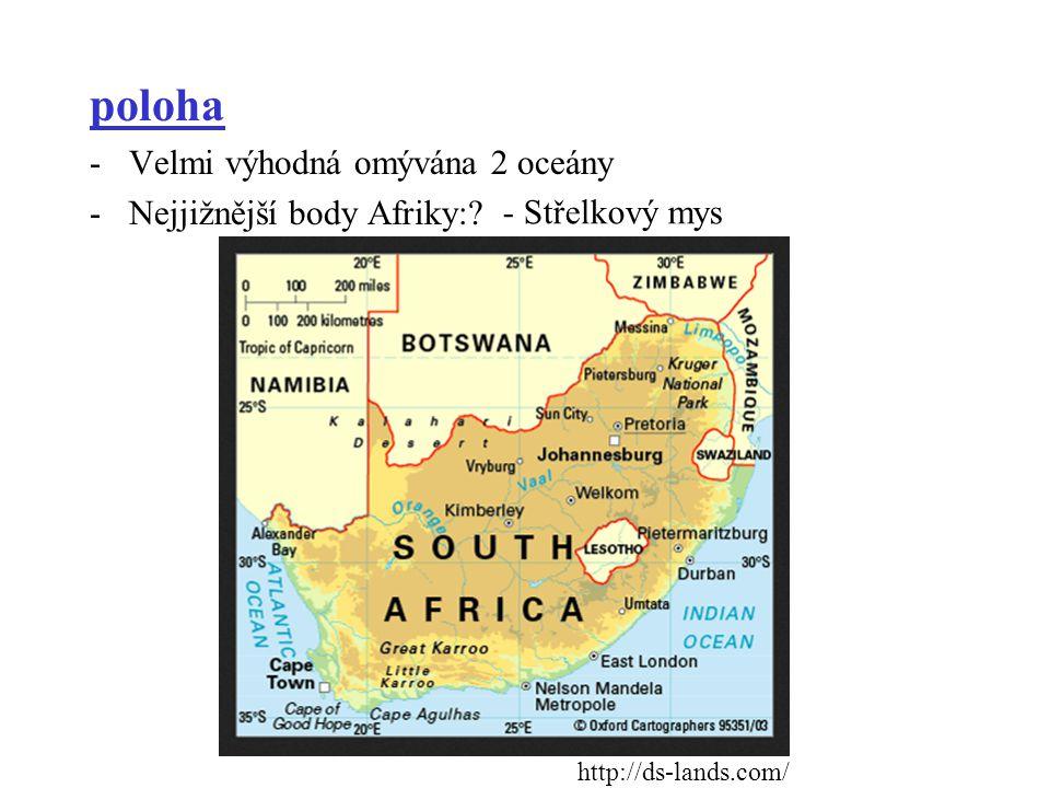 poloha -Velmi výhodná omývána 2 oceány -Nejjižnější body Afriky:? http://ds-lands.com/ - Střelkový mys