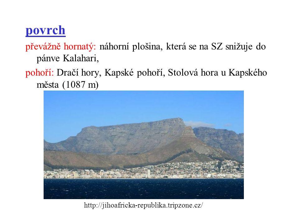 povrch převážně hornatý: náhorní plošina, která se na SZ snižuje do pánve Kalahari, pohoří: Dračí hory, Kapské pohoří, Stolová hora u Kapského města (