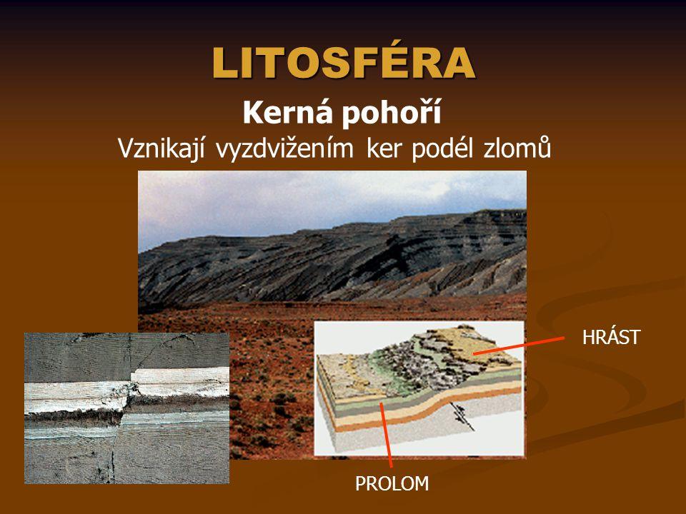 LITOSFÉRA Kerná pohoří Vznikají vyzdvižením ker podél zlomů HRÁST PROLOM