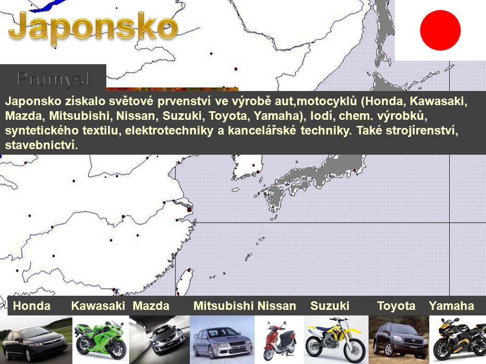 Japonsko získalo světové prvenství ve výrobě aut,motocyklů (Honda, Kawasaki, Mazda, Mitsubishi, Nissan, Suzuki, Toyota, Yamaha), lodí, chem.
