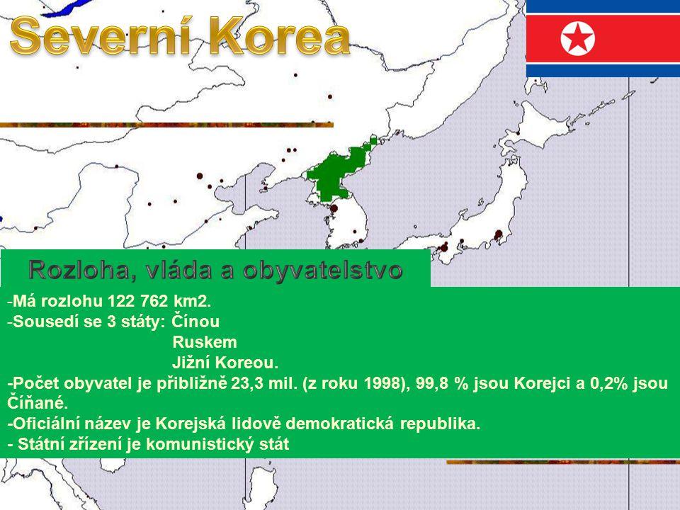 -Má rozlohu 122 762 km2.-Sousedí se 3 státy: Čínou Ruskem Jižní Koreou.