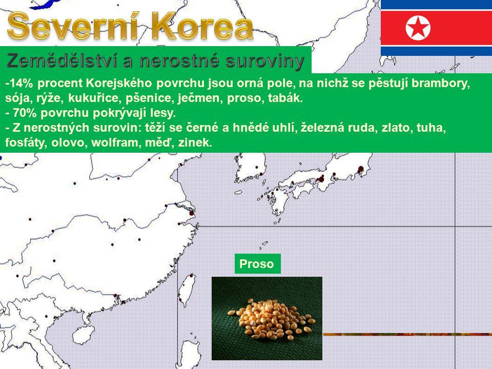 -14% procent Korejského povrchu jsou orná pole, na nichž se pěstují brambory, sója, rýže, kukuřice, pšenice, ječmen, proso, tabák.