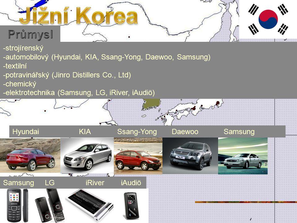 -strojírenský -automobilový (Hyundai, KIA, Ssang-Yong, Daewoo, Samsung) -textilní -potravinářský (Jinro Distillers Co., Ltd) -chemický -elektrotechnika (Samsung, LG, iRiver, iAudiö) Hyundai KIA Ssang-Yong Daewoo Samsung Samsung LG iRiver iAudiö