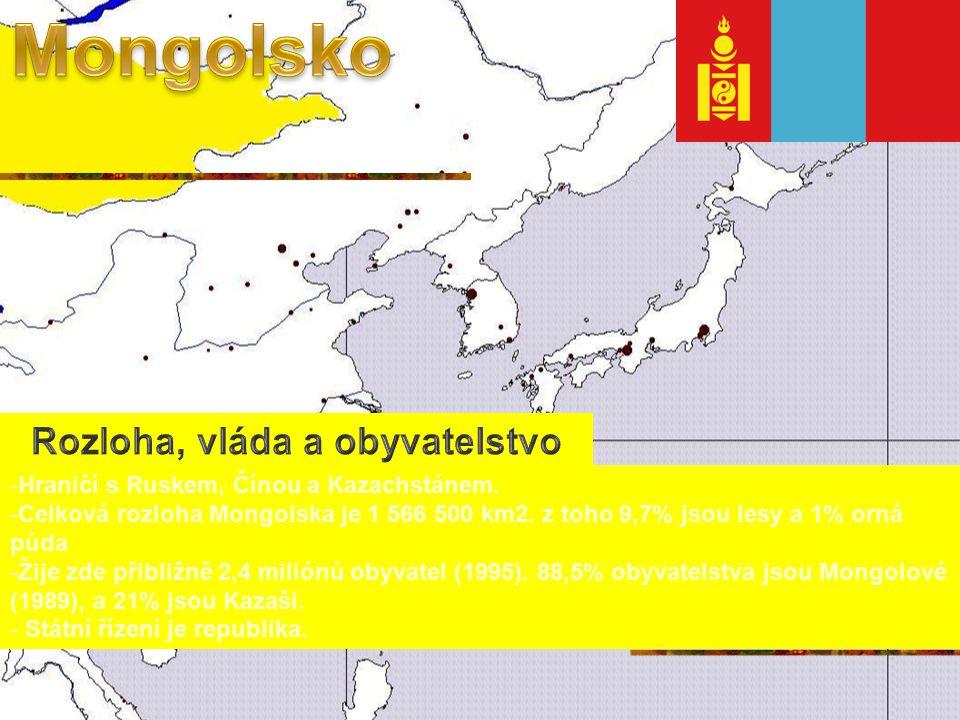 -Hraničí s Ruskem, Čínou a Kazachstánem.-Celková rozloha Mongolska je 1 566 500 km2.