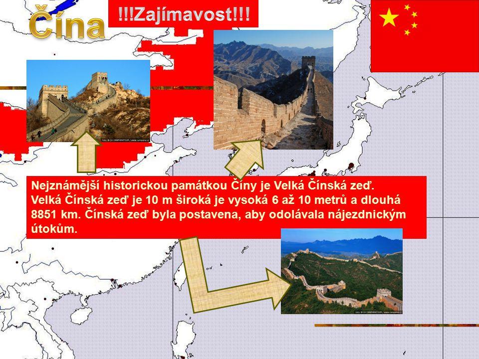 Nejznámější historickou památkou Číny je Velká Čínská zeď.