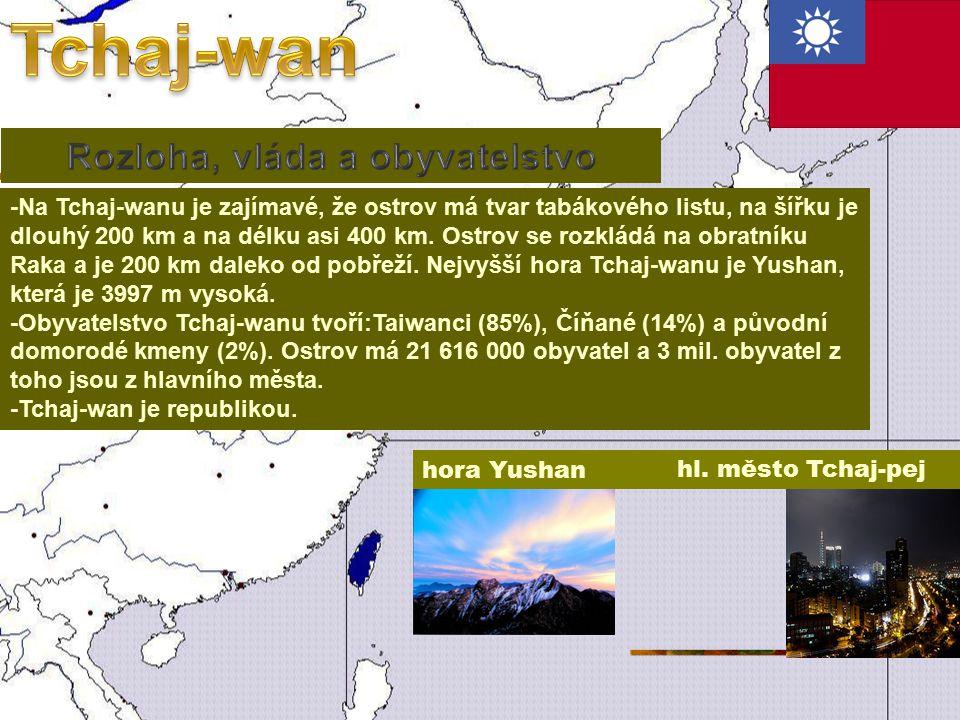 -Na Tchaj-wanu je zajímavé, že ostrov má tvar tabákového listu, na šířku je dlouhý 200 km a na délku asi 400 km.