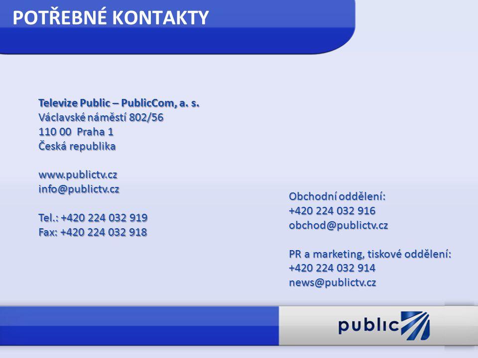 POTŘEBNÉ KONTAKTY Televize Public – PublicCom, a. s. Václavské náměstí 802/56 110 00 Praha 1 Česká republika www.publictv.czinfo@publictv.cz Tel.: +42