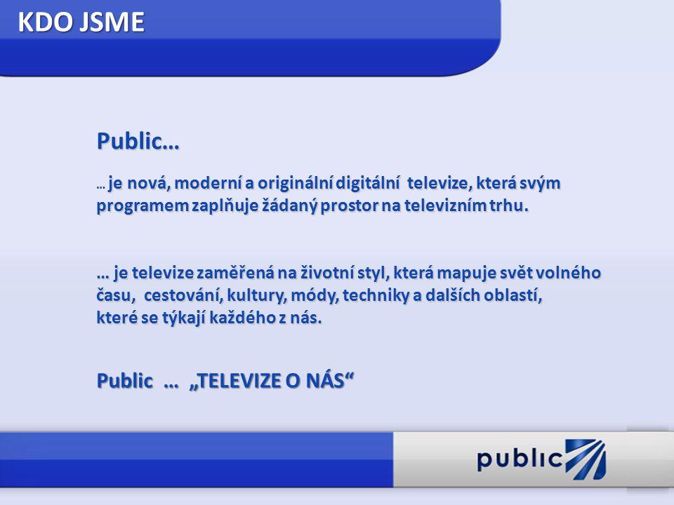 KDO JSME Public… je nová, moderní a originální digitální televize, která svým programem zaplňuje žádaný prostor na televizním trhu. … je nová, moderní
