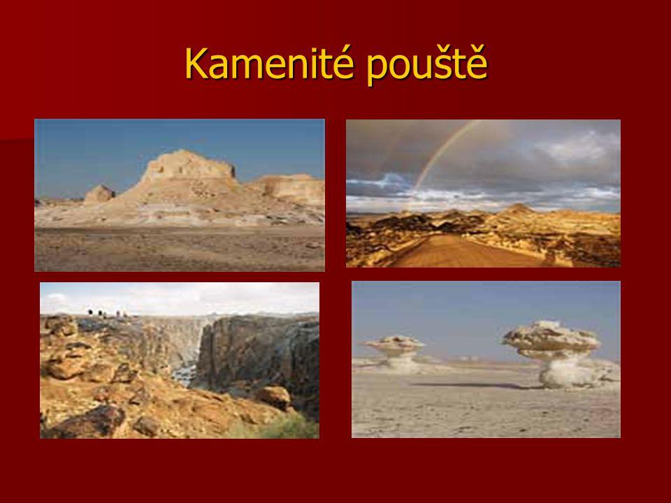 POUŠŤ - krajina s velmi malým množstvím srážek (méně než 110mm/1rok) - převážně tropy či subtropy X mrazové pouště na Antarktidě či v horách - kamenité,… písčité,hlinité - duny = písečné přesypy vzniklé erozivní činností větru - horké dny,chladné noci Afrika : SAHARA – největší poušť na světě Namib, Kalahari – J Afrika Asie : GOBI – 2.