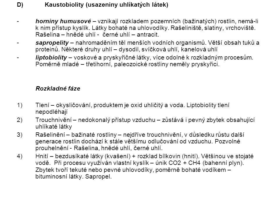 D)Kaustobiolity (usazeniny uhlíkatých látek) -horniny humusové – vznikají rozkladem pozemních (bažinatých) rostlin, nemá-li k nim přístup kyslík. Látk