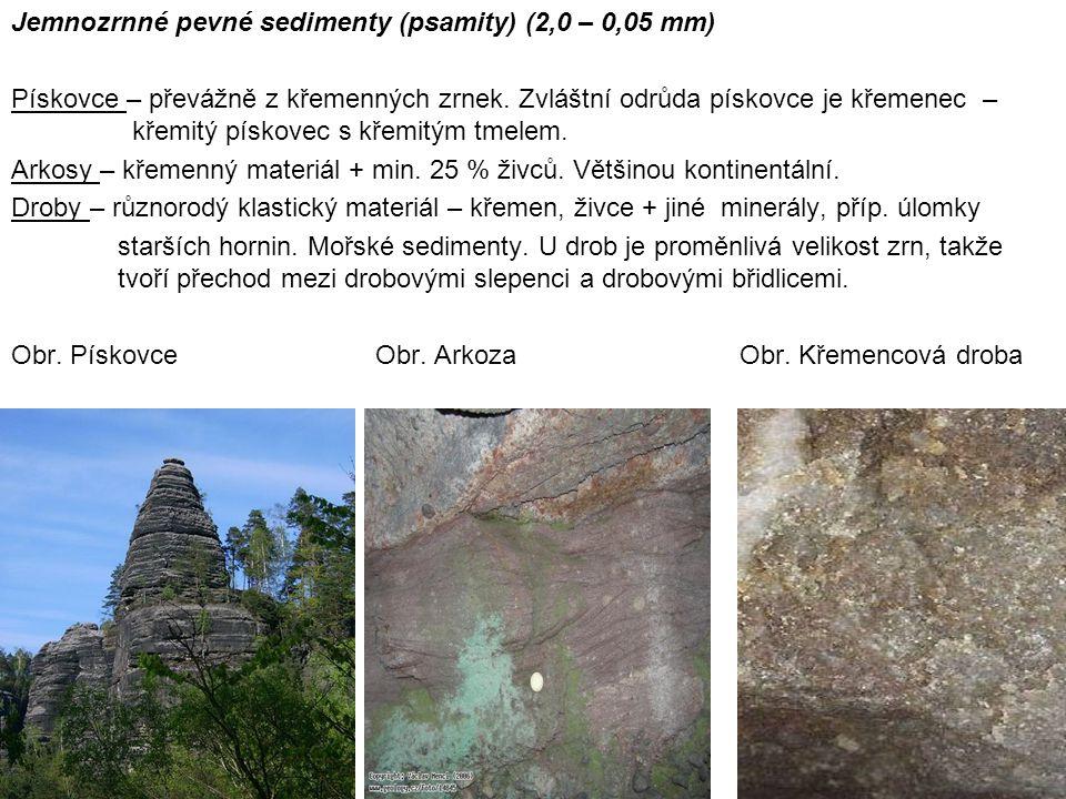 Jemnozrnné pevné sedimenty (psamity) (2,0 – 0,05 mm) Pískovce – převážně z křemenných zrnek. Zvláštní odrůda pískovce je křemenec – křemitý pískovec s