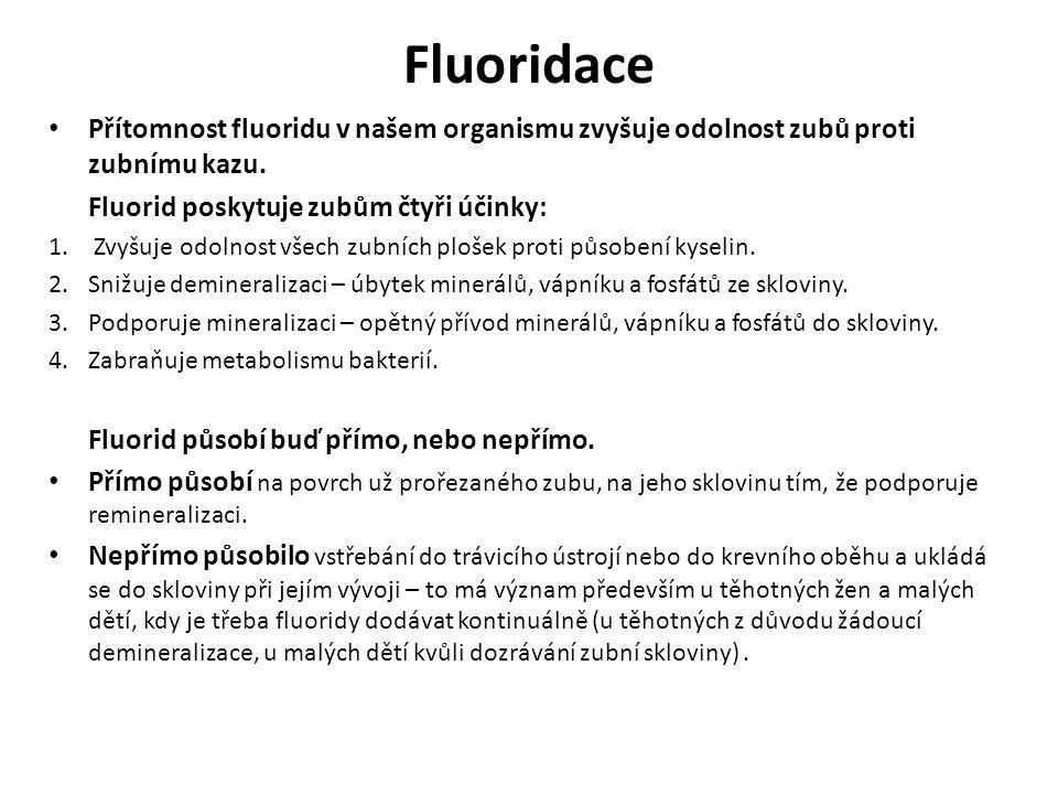 Zubní pasty Do past se přidávají různé typy a koncentrace fluoridů.