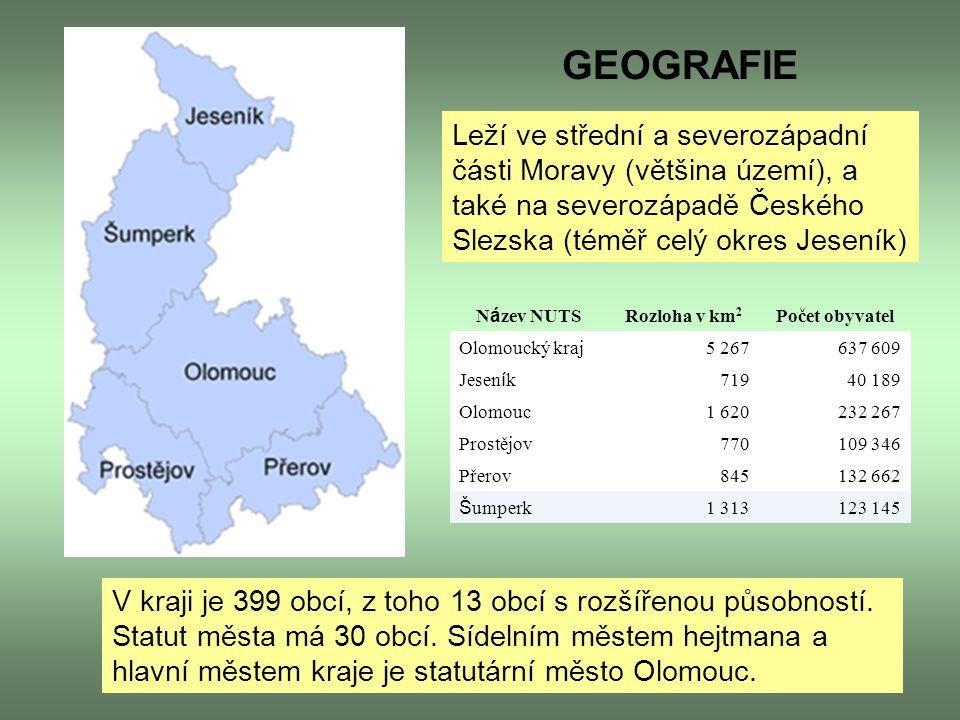 Leží ve střední a severozápadní části Moravy (většina území), a také na severozápadě Českého Slezska (téměř celý okres Jeseník) V kraji je 399 obcí, z
